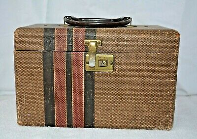VTG Tweed Travel Case Train Case Cosmetic Makeup Case HARD SHELL