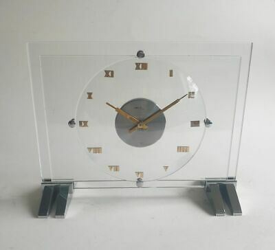 Art Deco Machine Age glass and chrome 8 day clock ImHof 1930's Swiss quality