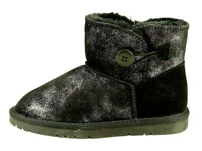 METALLIC COW SUEDE BUTTON ANKLE Boots Furry Toddler Little Big Kids Unisex