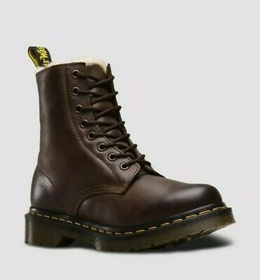 NEW! Dr Martens 1460 Burnished Wyoming SERENA Fur Lined Leather Boots Size UK 5