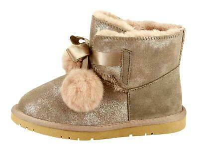 POM POM METALLIC SUEDE ANKLE Winter Boots Furry Toddler Little Big Kids Girls