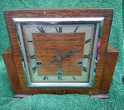 Enfield  8 Day, Oak Case, Art Deco, Westminster Chimes Mantel Clock Working