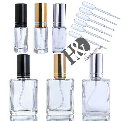 Clear Glass Empty Perfume Bottle Refillable Wedding Gifts with Straw Pack of 6