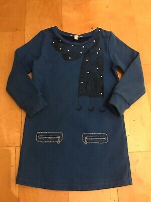Little Marc Jacobs Designer Baby Girls Blue Jumper Dress Party Outfit Scarf 2-3y