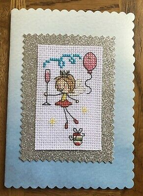 Completed Cross Stitch Christmas Fairy Card 4x6 Inch.