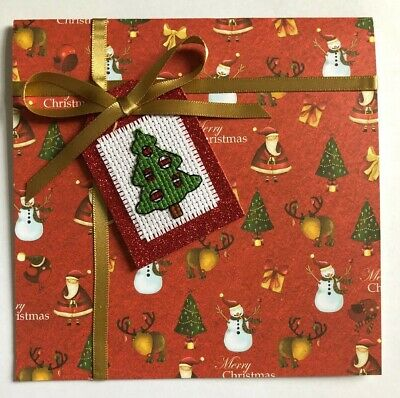 Completed Cross Stitch Christmas Tag Card Tree 5.5x5.5inch