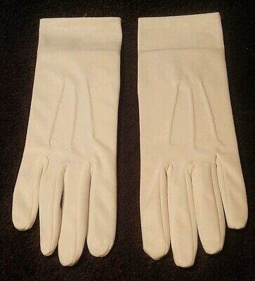 DENTS vintage white satin sheen nylon day gloves wedding church one size NEW