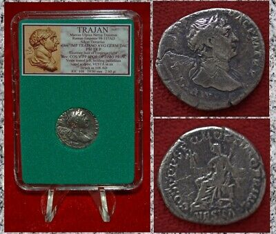 Ancient Roman Empire Coin TRAJAN Vesta Seated Silver Denarius
