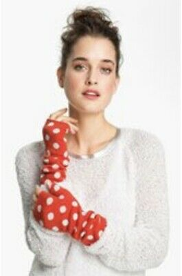 Kate Spade NY Fingerless Gloves Mod Spot Red Cream/white Polka Dots Wool NEW Tag