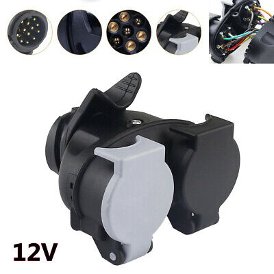 13 Core Plug to 7-core Socket Trailer Plug Socket Adapter Connector RV Car Hitch