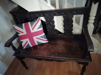 Antique  carved oak hall bench