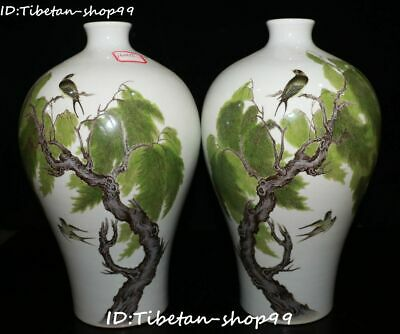 """11"""" Color Porcelain Magpie Bird Qing Dynasty Willow Tree Flower Bottle Vase Pair"""