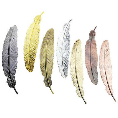 6 Pcs Vintage Feather Metal Bookmarks Bookmark for School Supplies Statione I2H1
