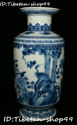 "11"" Blue White Porcelain Red-crowned crane Birds Flower Bottle Vase Statue"