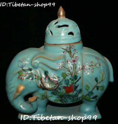 Blue Glaze Porcelain Bird Flower Elephant Animal Zun Pot Incense Burner Censer
