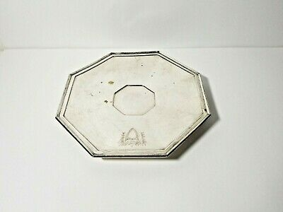 Antique RARE Meriden Britannia Silver Plate Octagon Footed Tray Shield Embossed