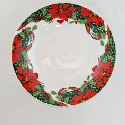 Gibson Housewares Holiday Dessert Soup Bowl Christmas Holly Ribbon Poinsettias