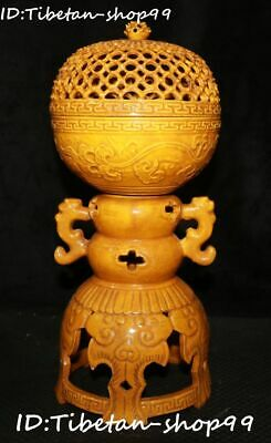"12"" Chinese Yellow Glaze Porcelain Dynasty Dragon Loong Incense Burner Censer"