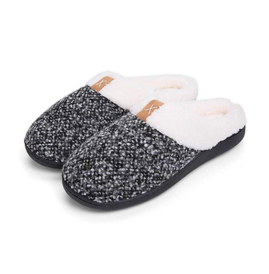Men's Comfy Memory Foam Slippers Fuzzy Plush Wool-Like Clog House Shoes  US 10#