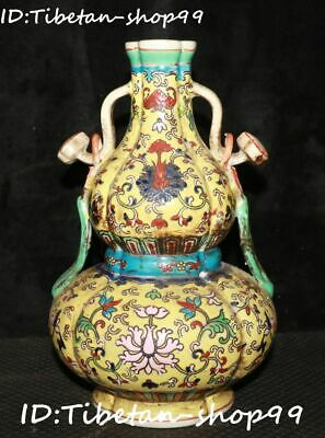 "9"" Old Wucai Porcelain Qing Dynasty Flower Ruyi Handle Gourd Bottle Vase Statue"