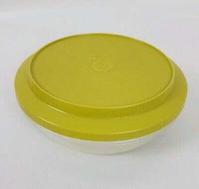 VINTAGE Small Tupperware Plate O Bowl Olive Green Camping