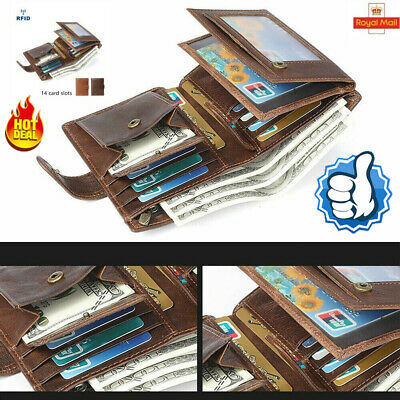 Mens RFID Blocking Leather Wallet Trifold Purse Credit Card Holder Coin Pockets