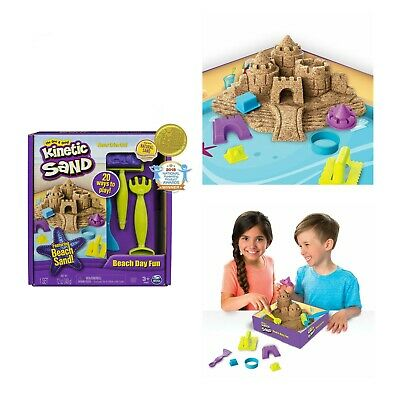 Kinetic Sand Beach Day Playset Castle Molds Tool Toddler Kids Toy Sandbox Gift