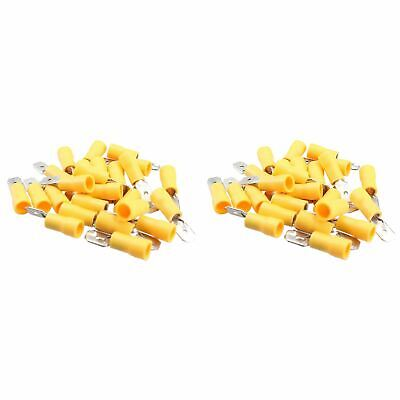 5mm Male Yellow Electrical Cable Wire Spade Terminals Crimps Connectors 50pc