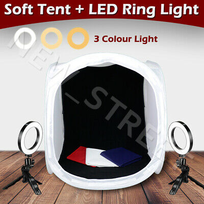 80CM Soft Tent Box Dimmable LED Ring Light Kit 4X Backdrops Photo Video Lighting