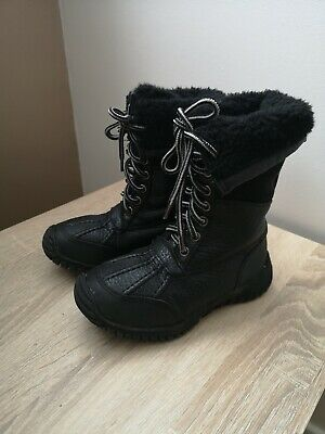 Girls Lace Up Fur Lined Flat Calf Winter Snow Boots Size 11 Uk