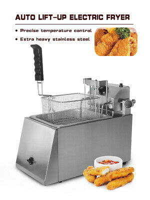 Commercial Auto Lift-up Electric Deep Fryer+Basket 8L Single Pan Stainless Steel