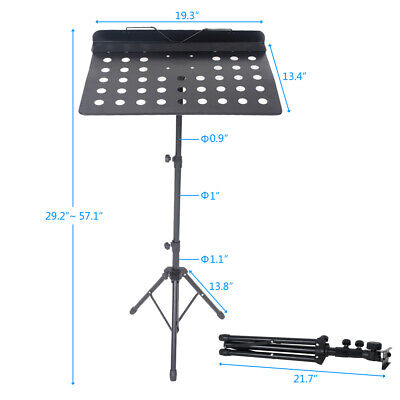 Heavy Duty Foldable Music Stand Holder Base Tripod Orchestral Conductor Sheet US