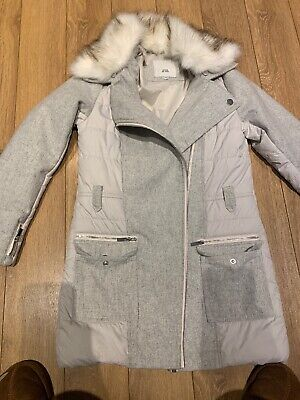 Stunning Coat With Fur Collar From River Island Age 11-12 Hardly Worn