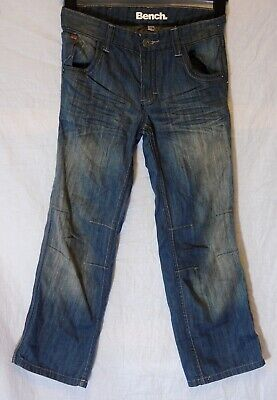 Boys Bench Blue Whiskered Denim Adjustable Waist Logo Relax Jeans Age 9-10 Years