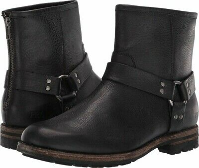 New $350 Polo Ralph Lauren Melvin Black Tumbled Leather Mens Harness Boots SZ 11