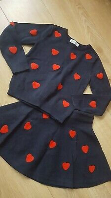 H&M Girls navy blue with red Hearts Skirt And Top Outfit Age 4 -6 Yrs