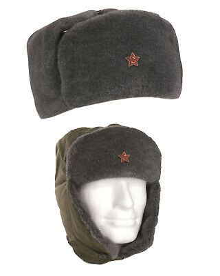 Russian Army Trapper Genuine Soviet USSR Red Star Winter Olive Soldier Trapper