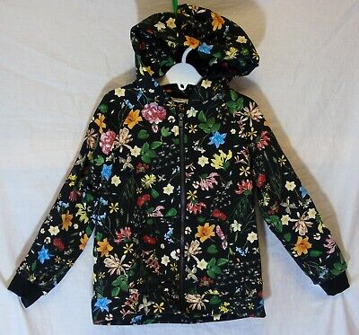 Girls Zara Black Multi Wildflower Floral Print Hooded Jacket Hoodie Age 7 Years