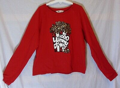 Girls H&M Red Sparkly Sequin So Yummy Popcorn Sweater Jumper Age 14-15 Years