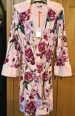 Baker by Ted Baker Girls' Pink Floral Print  Soft dressing gown -9-10 Yrs NEW