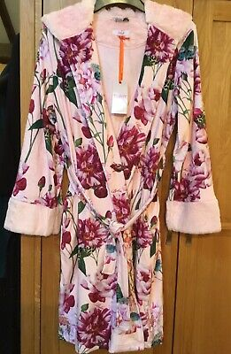 Baker by Ted Baker Girls' Pink Floral Print  Soft dressing gown -12-13 Yrs NEW