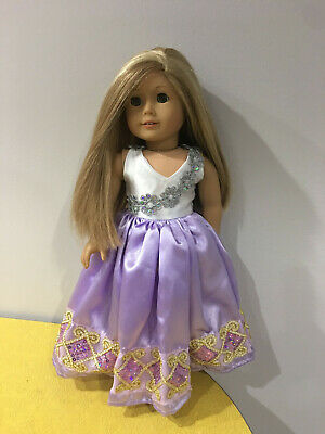 Doll Clothes Gown Princess White Purple Dress Fits American girl Doll Gown