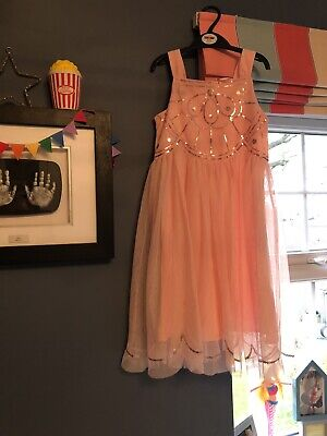 Girls Party Xmas Dress H & M Peach Sequins 8-9