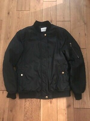 Girls's Zara Black Bomber Jacket  Padded Coat Outwear Zip Jacket Age 13-14 Years