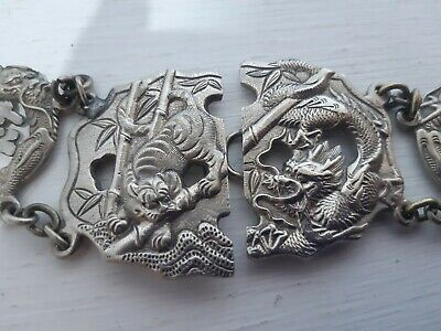 Antique Vintage Solid Silver Metal Nurses Belt Buckle Chinese Russian Export