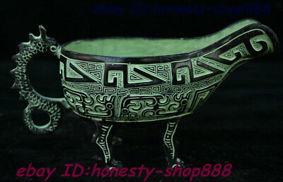 """7"""" Collect Antique Chinese Bronzeware Beast Dragon Angle Of cup horn Cup Statue"""