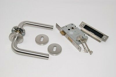 Straight Lever Door Handle Pack 3 lever Lock Set Satin Stainless Steel