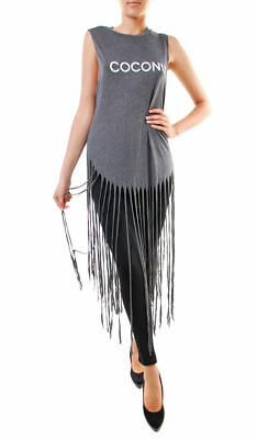 Wildfox Women's Coconut Fringe Tank Top Dirty Black Gray Size XS RRP £89 BCF74