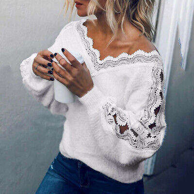 Fashion Women Lace V-neck OffThe-Shoulder Long Sleeve Casual Tunic Top Blouse CA