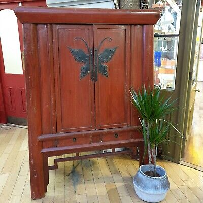Vintage Chinese Butterfly Wedding Cabinet